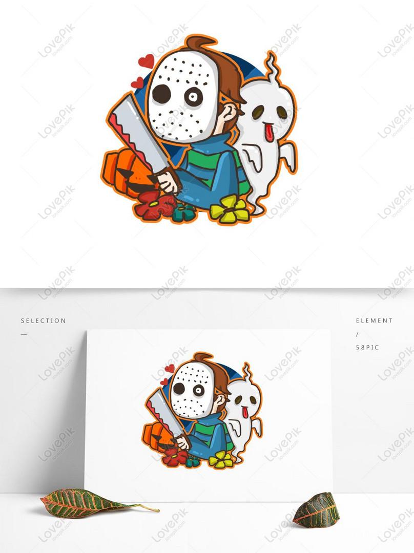 Cartoon cute halloween killer marker pen texture doodle illustra