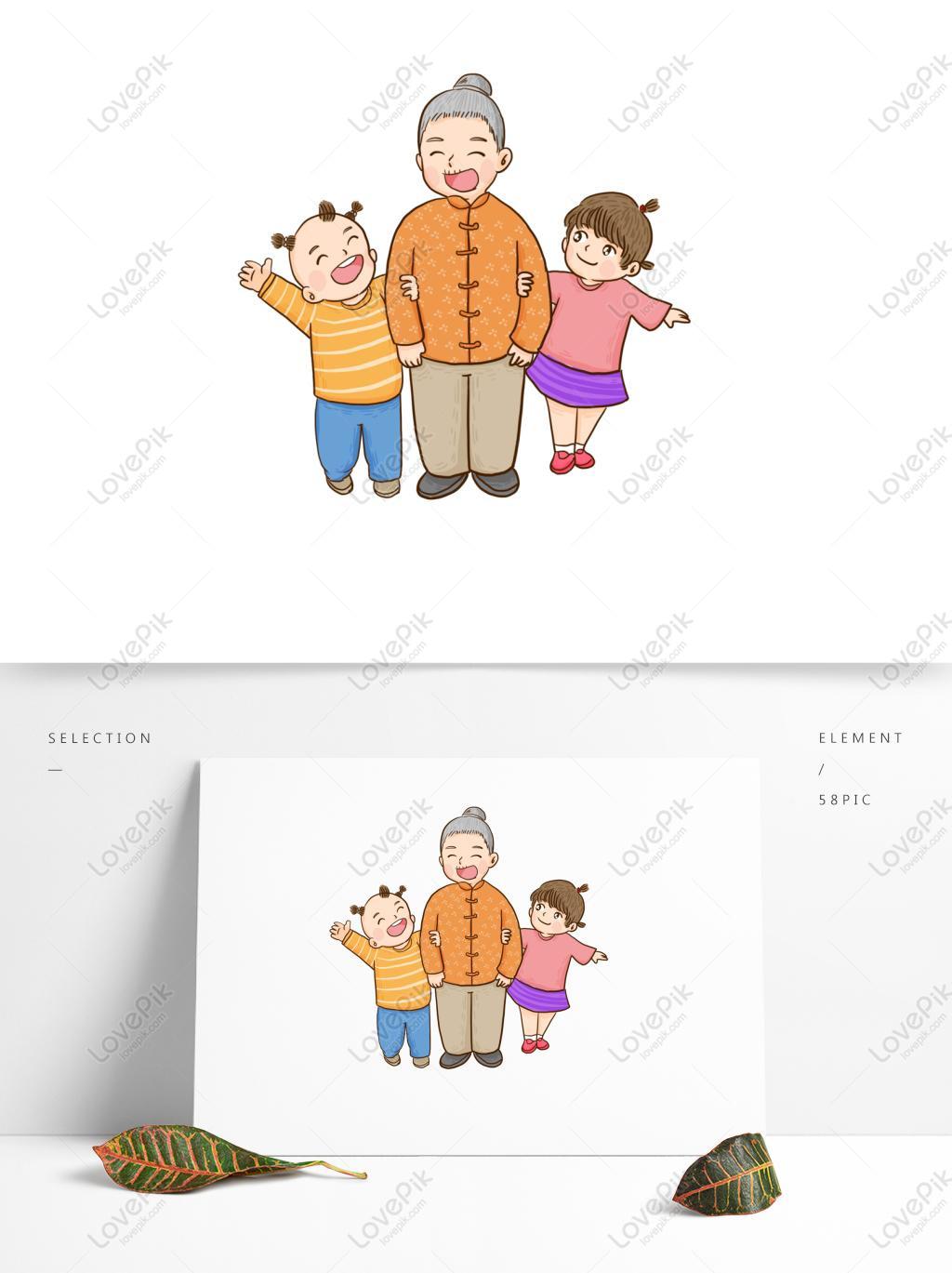 Kanak Kanak Dan Nenek Gembira Dengan Elemen Kartun Ketawa