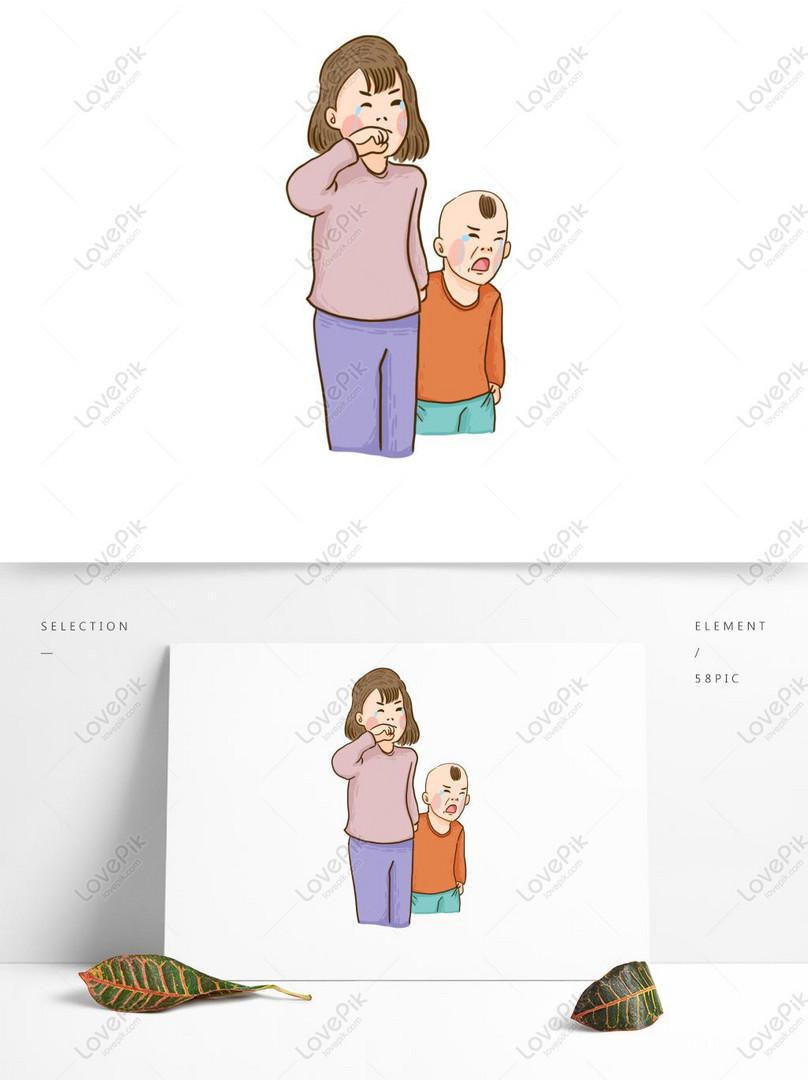 Sedih Menangis Elemen Kartun Ibu Dan Kanak Kanak Gambar