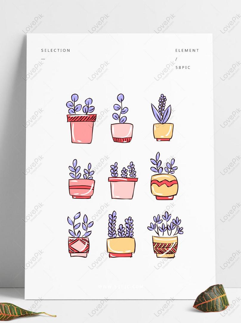 Tangan Dicat Bunga Tongkat A Gambar Kartun Lucu Ungu Pot