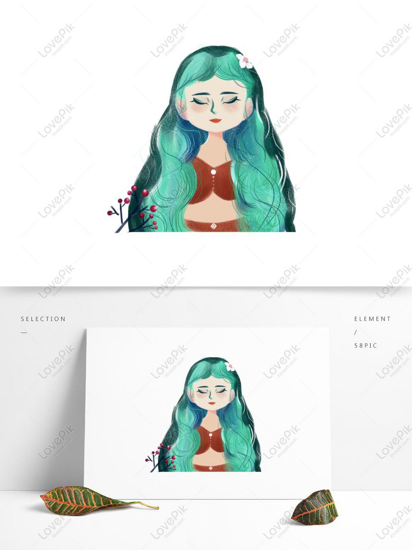 Beautiful Girl Cartoon Element With Green Long Hair Psd Images Free Download 1369 1024px Lovepik Id732476024