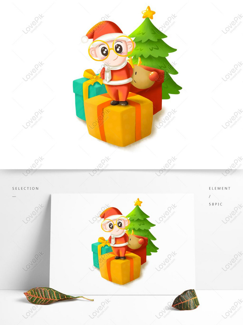 Natal Digambar Tangan Kartun Lucu Santa Baby Gambar Unduh