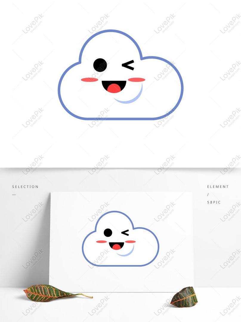 Las Expresiones De La Nube Blanca De Dibujos Animados Lindo