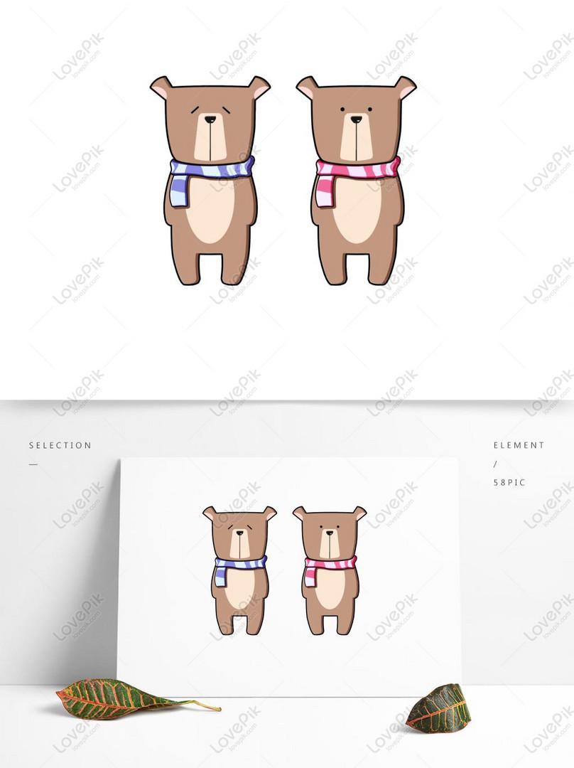 Elemen Desain Kartun Hewan Lucu Beruang Animasi Gambar Unduh