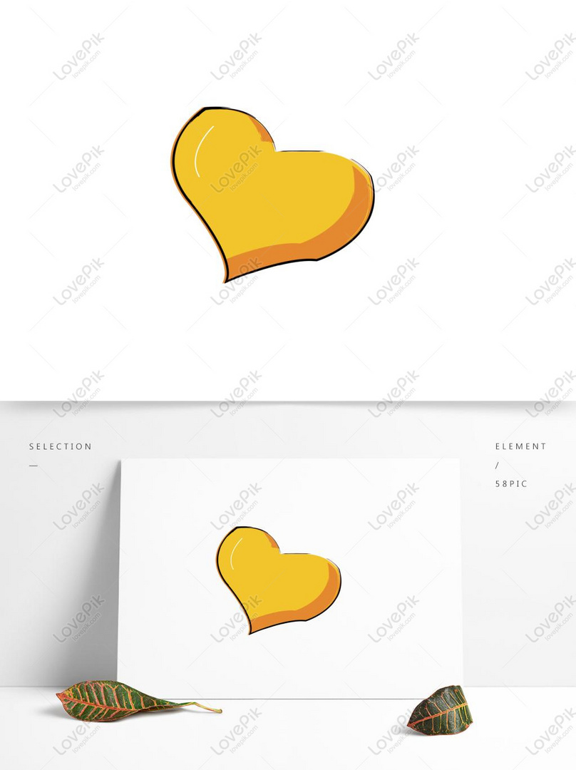 Cute Vector Hand Drawn Wind Yellow Love Elements AI Images