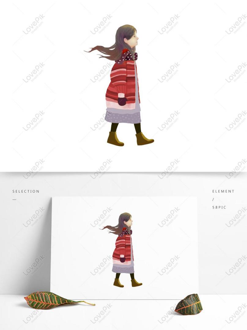 Kartun Gadis Lucu Berjalan Adalah Unsur Komersial Gambar