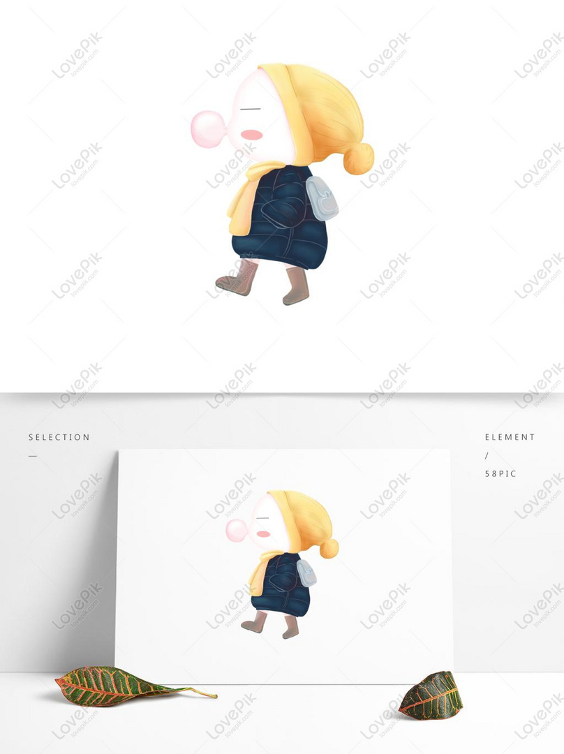 Cartoon Cute Girl Blowing Bubble Gum PSD Images Free