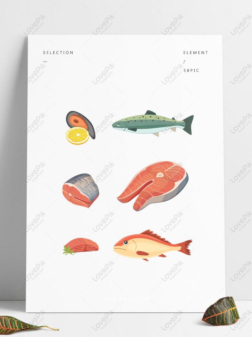 Elemen Vektor Kelas Makanan Laut Ikan Gambar Unduh Gratis