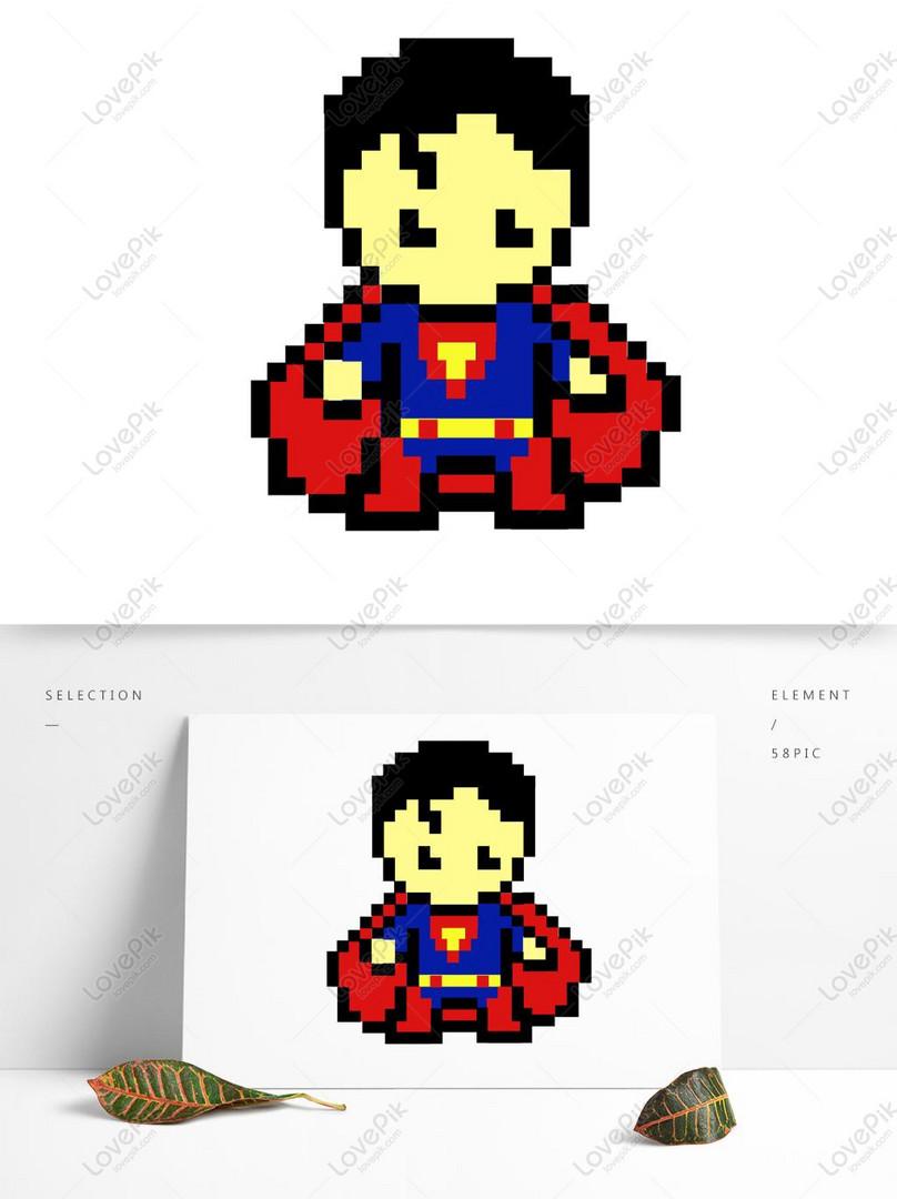 Basit Yaratıcı Sevimli çizgi Mozaik Superman Piksel Boyama