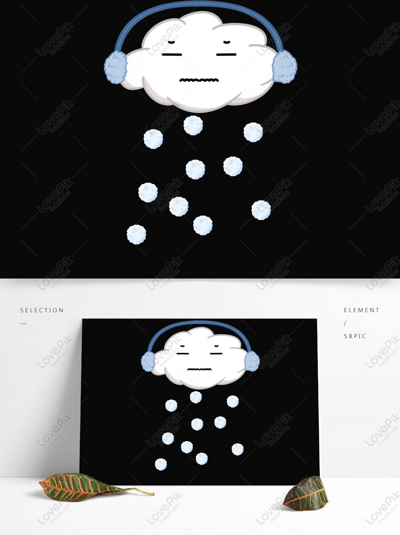 Sosok Tongkat Wajah Imut Kartun Imut Hujan Es Awan Putih
