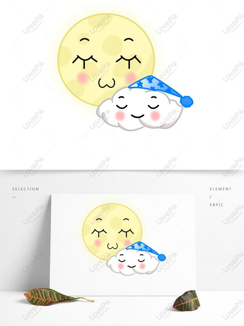 Sosok Tongkat Wajah Imut Kartun Imut Bulan Selamat Malam A