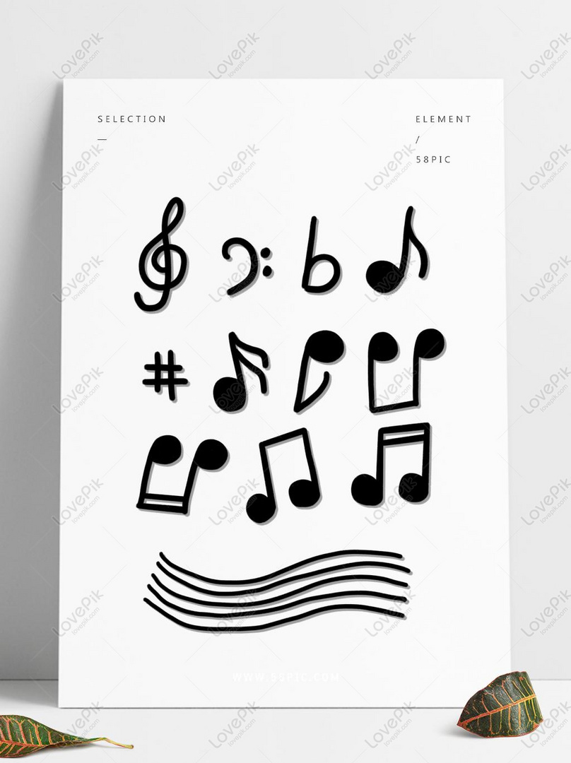 Free psd images download_hand drawn cartoon textured cute musical