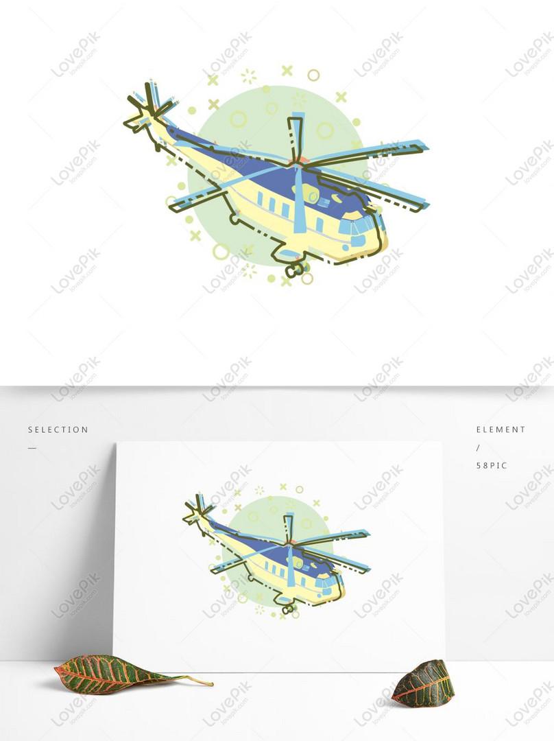 Elemen Vektor Helikopter Mbe Kartun Datar Yang Minimalis