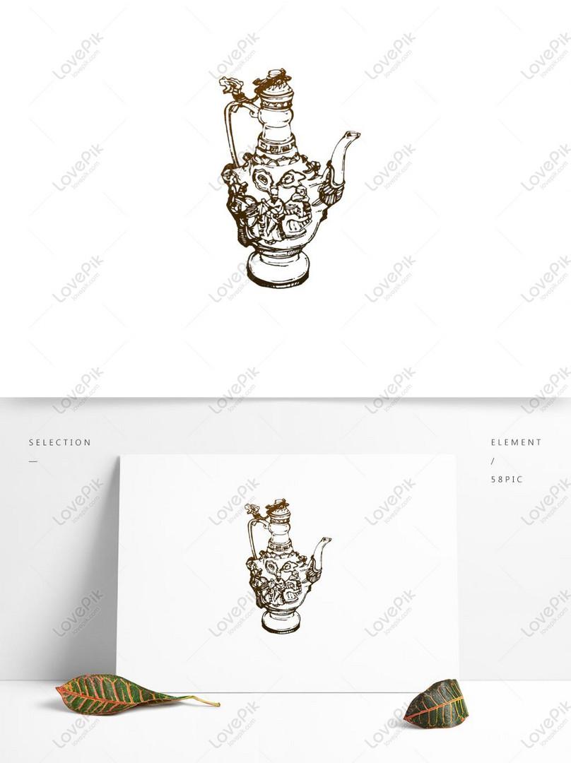 Cina Berbuih Hip Flask Teapot Linear Sketsa Elemen Angin