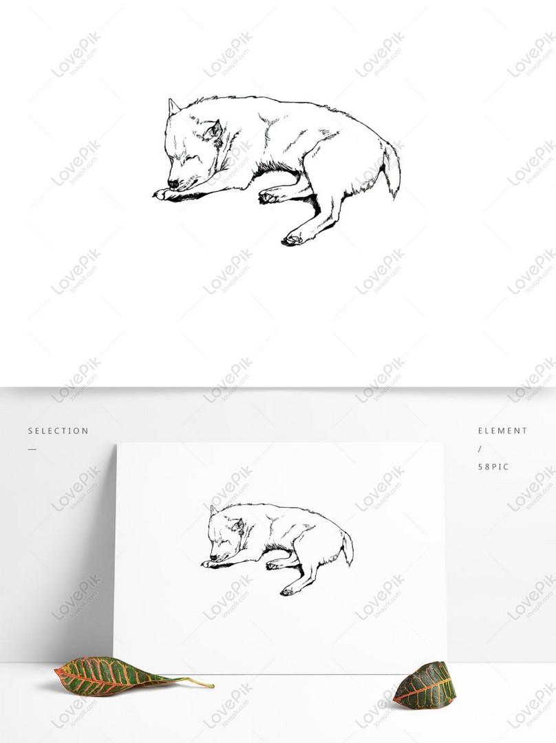 Anjing Realistis Elemen Sketsa Hewan Angin Linier Gambar