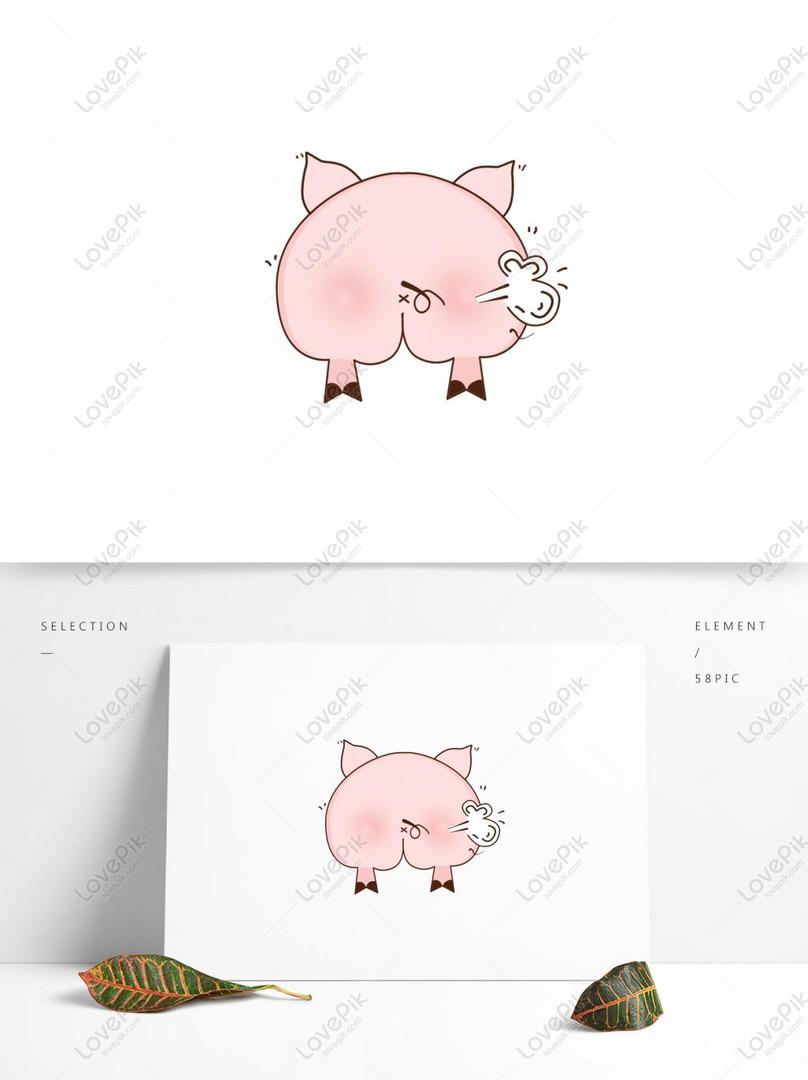 Tangan Sederhana Lucu Babi Kentut Babi Gambar Unduh Gratis