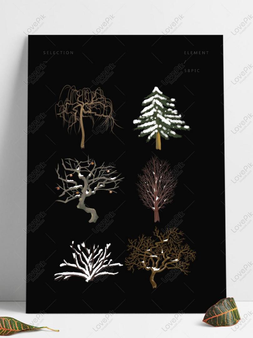 Tangan Ditarik Pelbagai Pokok Pada Musim Sejuk Gambar Unduh