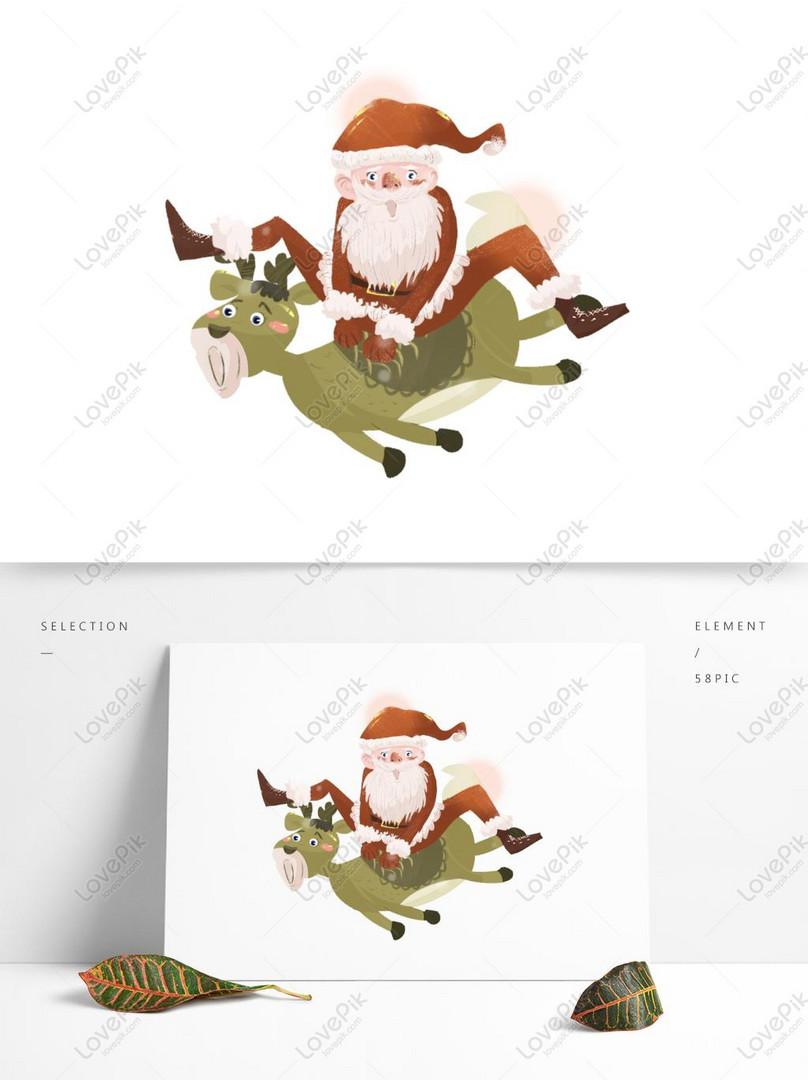 Santa Claus Menunggang Reka Bentuk Kartun Rusa Gambar Unduh