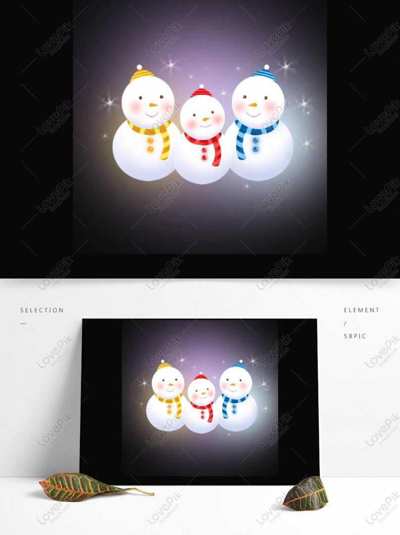 Snowman Natal Vektor Kartun Lucu Elemen Komersial Gambar