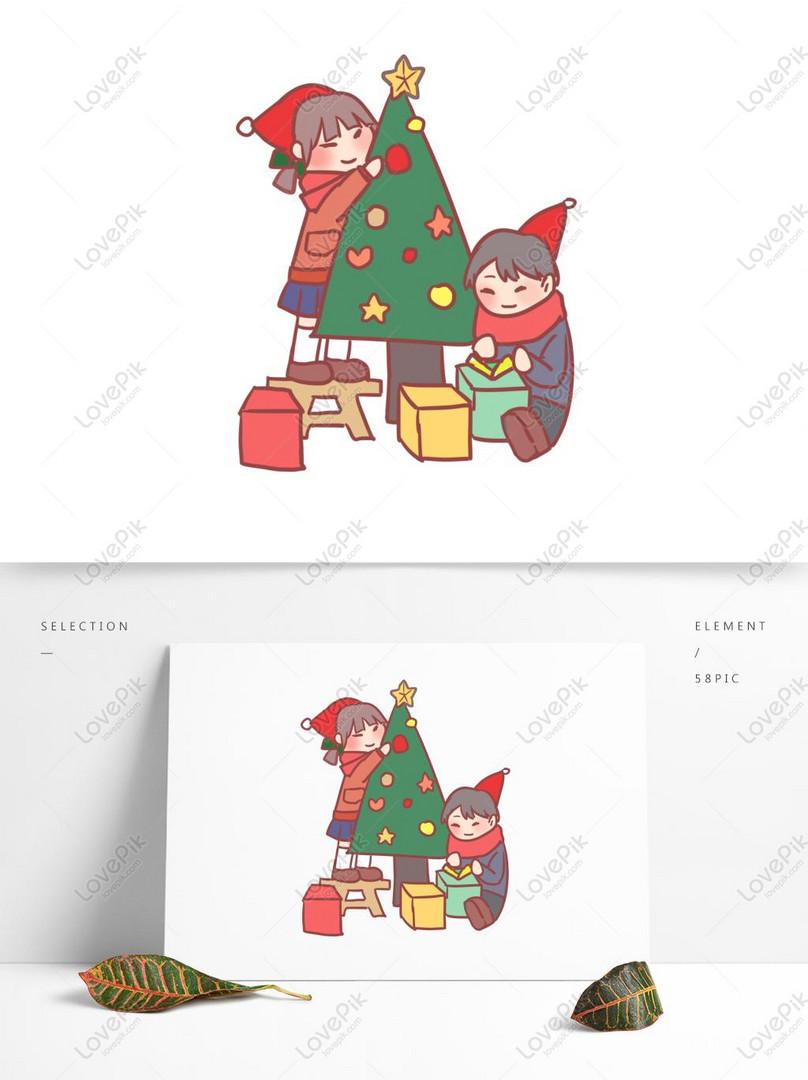Perayaan Kartun Hadiah Perayaan Keluarga Krismas Perayaan