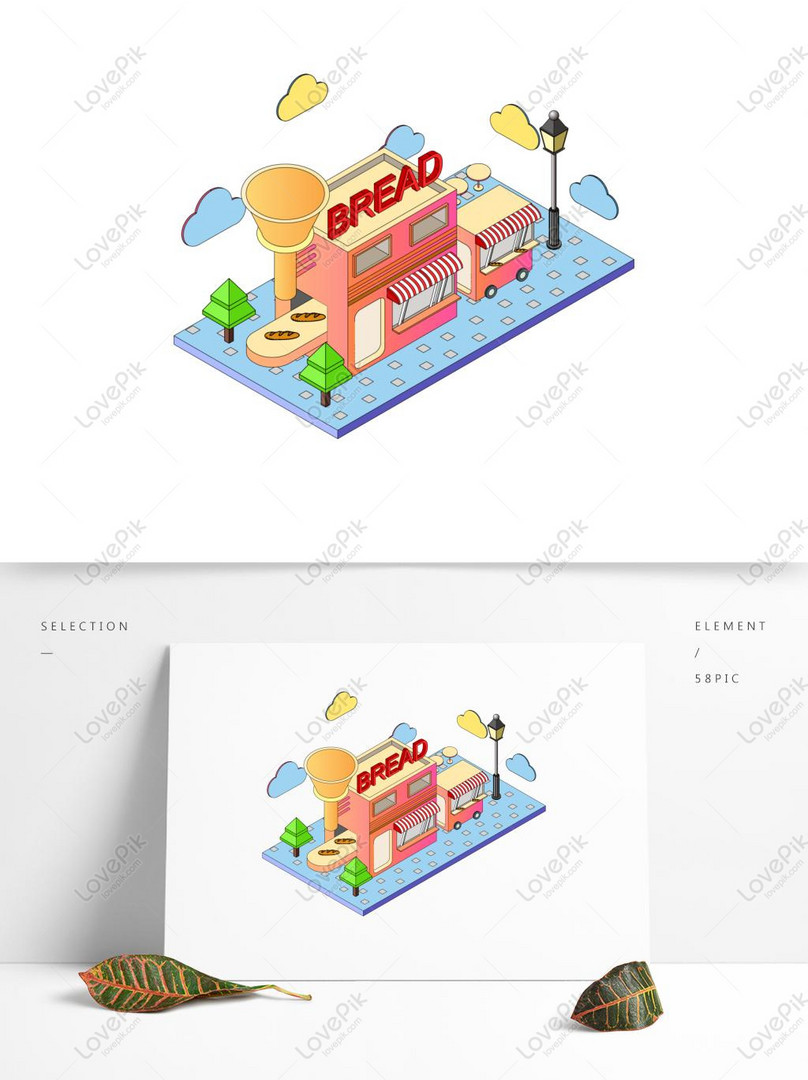 commercial vector 25d style bakery architectural element