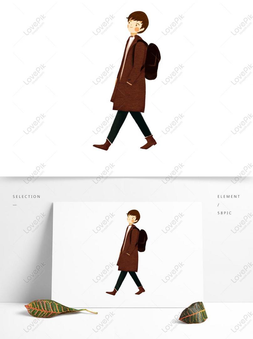 Sonbahar Yürüyen Adam Karakter çizimi Resimgrafik Numarası