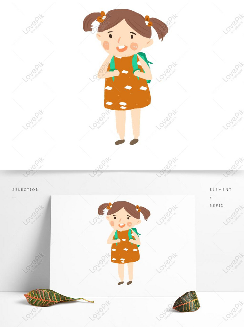 Cartoon Cute Schoolboy Carrying A School Bag PSD Images Free