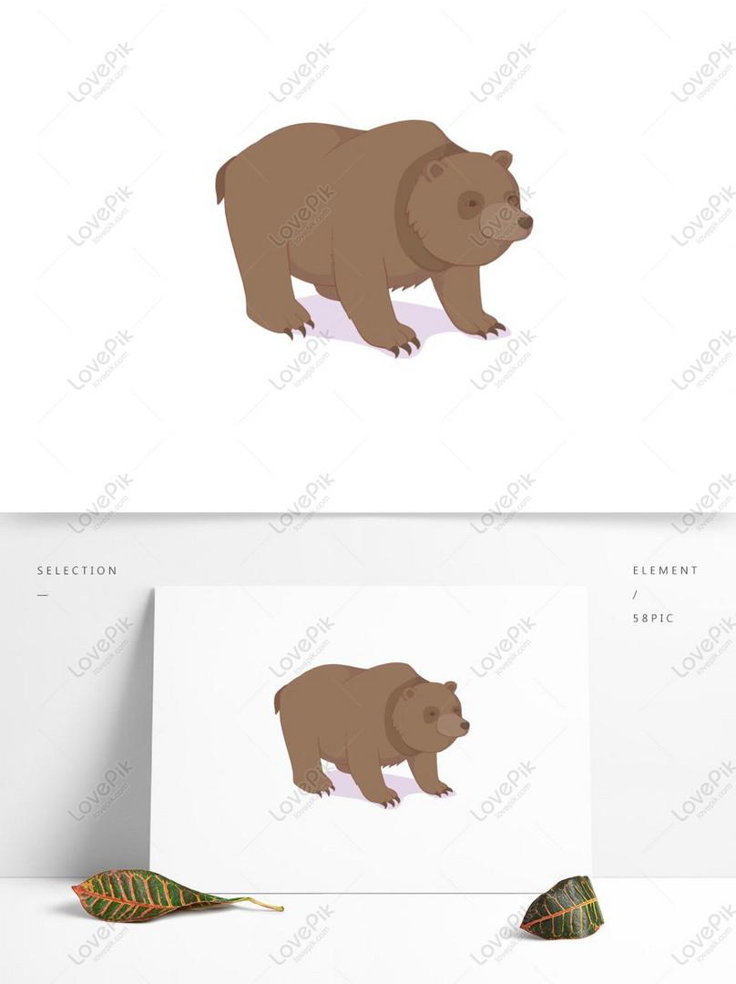 Kartun Hewan Beruang Coklat Yang Digambar Tangan Untuk