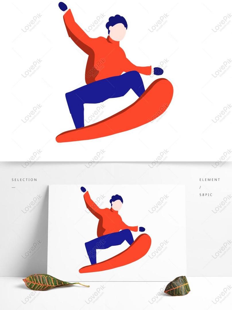 cartoon minimalist ski character design