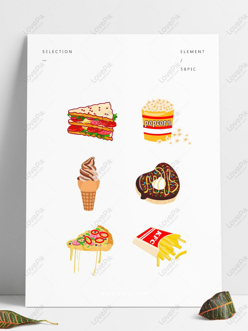 Kartun Makanan Lucu Elemen Menetapkan Ilustrasi Gambar Unduh