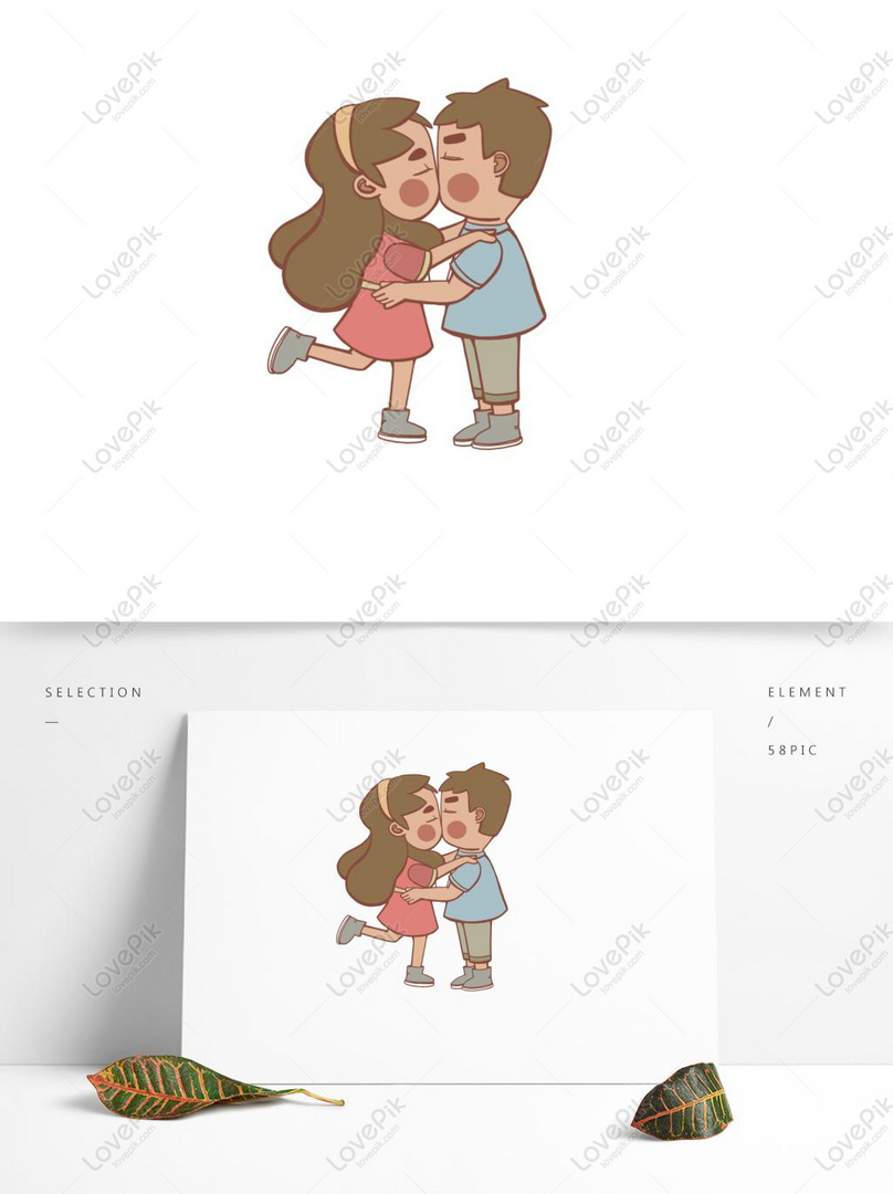 Pasangan Kartun Yang Digambar Tangan Jatuh Cinta Bisa