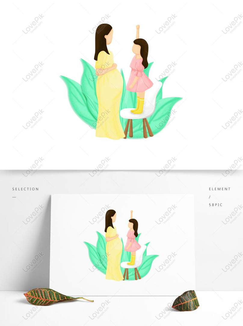 mother and daughter second child mothers day hand drawn illustr