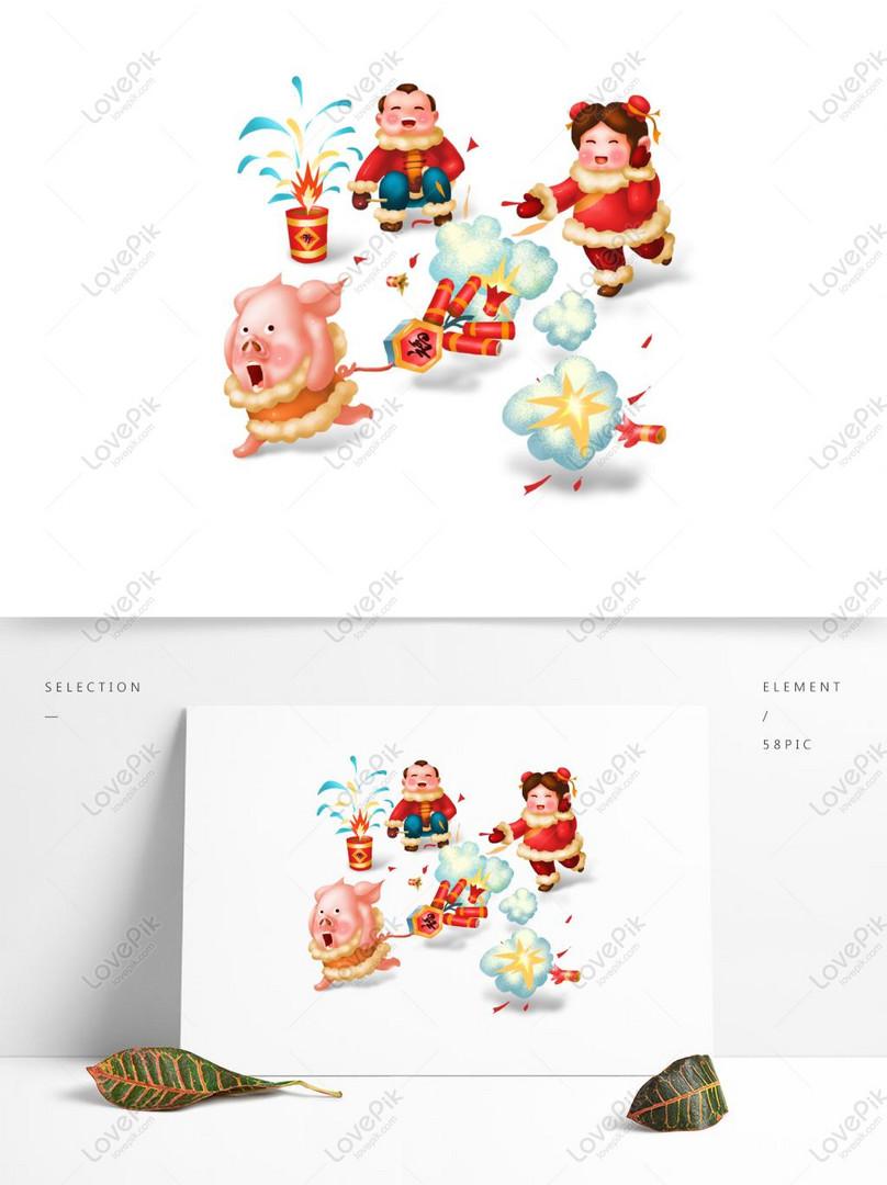Komersial Kartun Hd Perayaan Cina Tahun Baru Mercun Babi