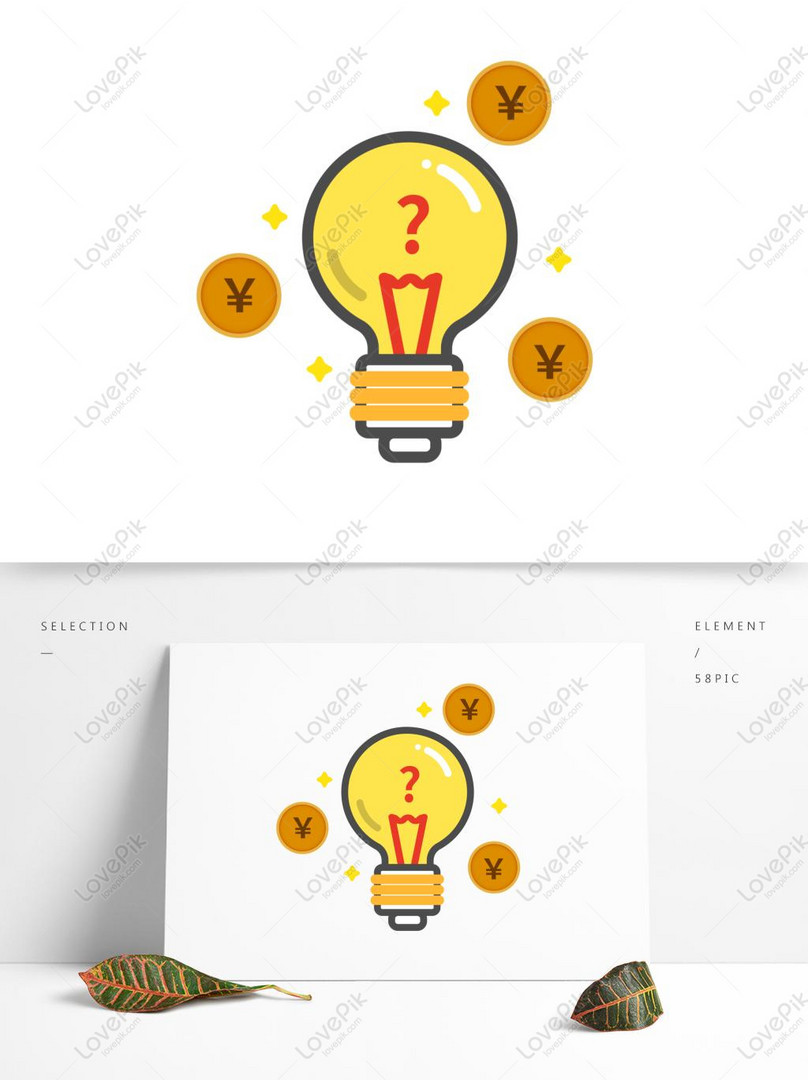 creative light bulb element in simple style