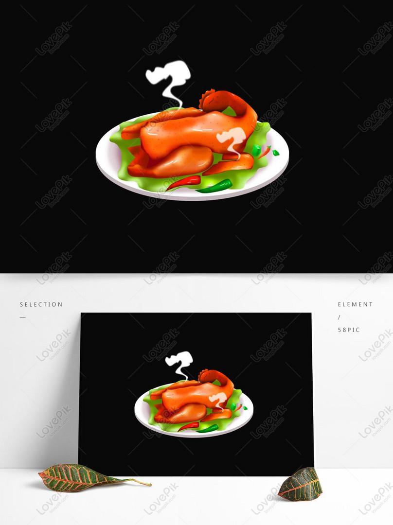 Komersial Hd Tangan Dicat Makanan Ayam Panggang Rangup Gambar