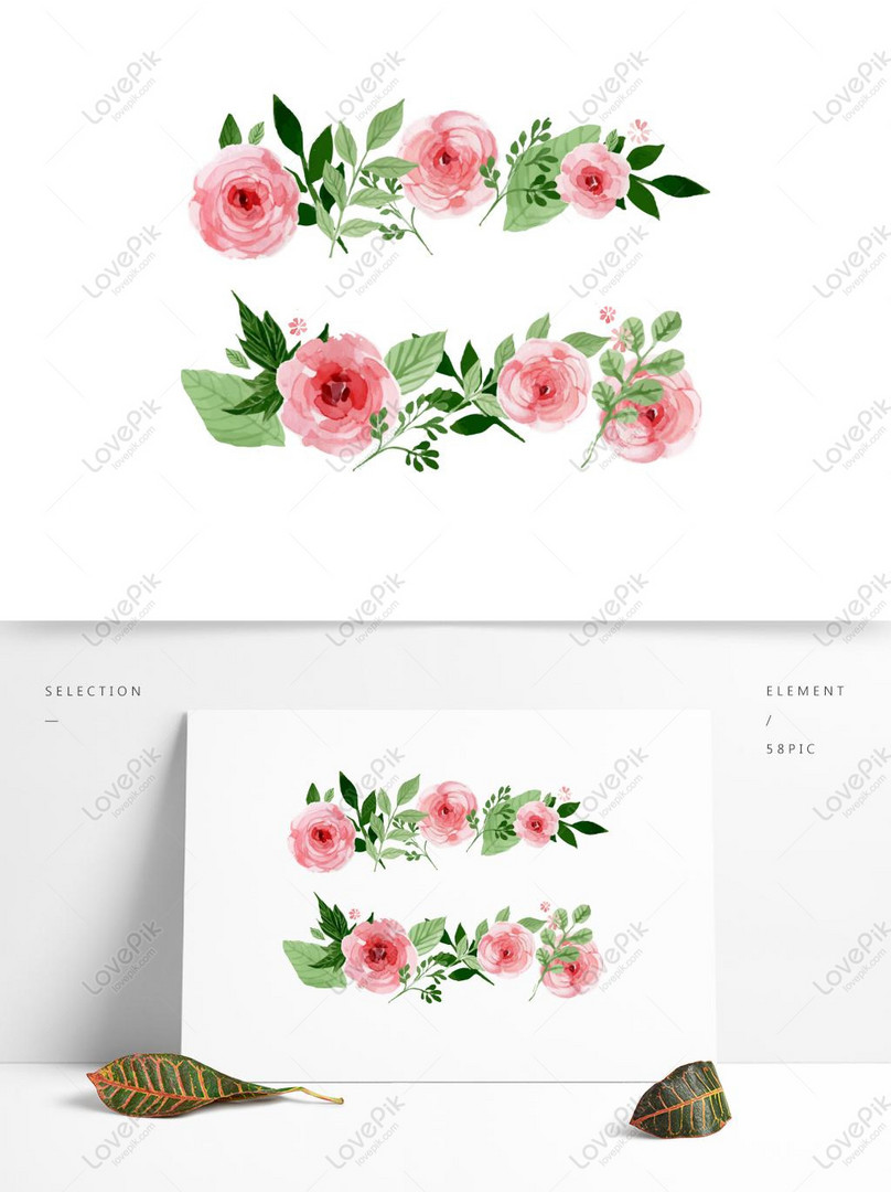 wedding watercolor flower png material