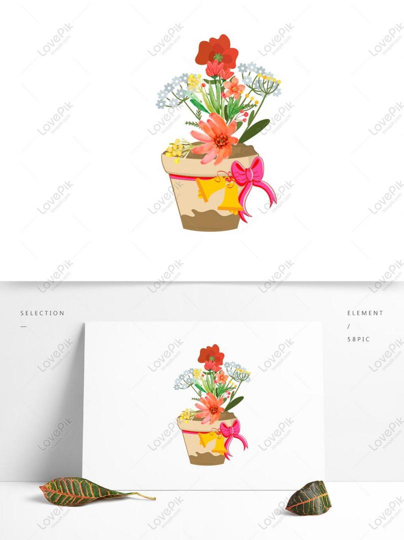 Bunga Bunga Indah Elemen Tanaman Pot Gambar Unduh Gratis Grafik
