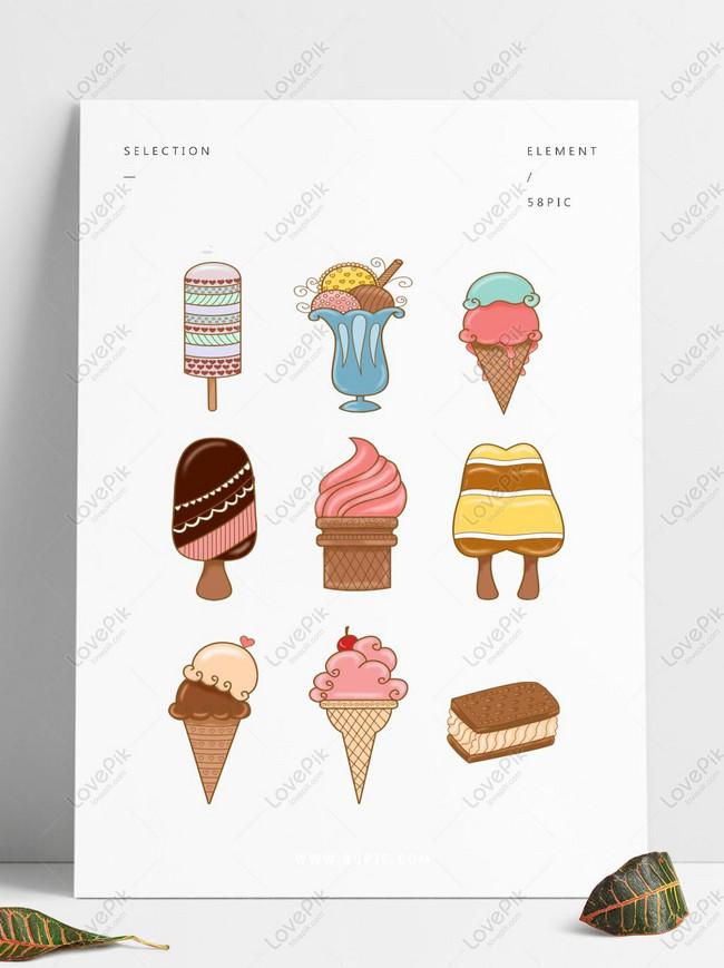 Es Krim Kartun Lucu Yang Dilukis Dengan Tangan Untuk Penggunaan Gambar Unduh Gratis Grafik 733466673 Format Gambar Psd Lovepik Com