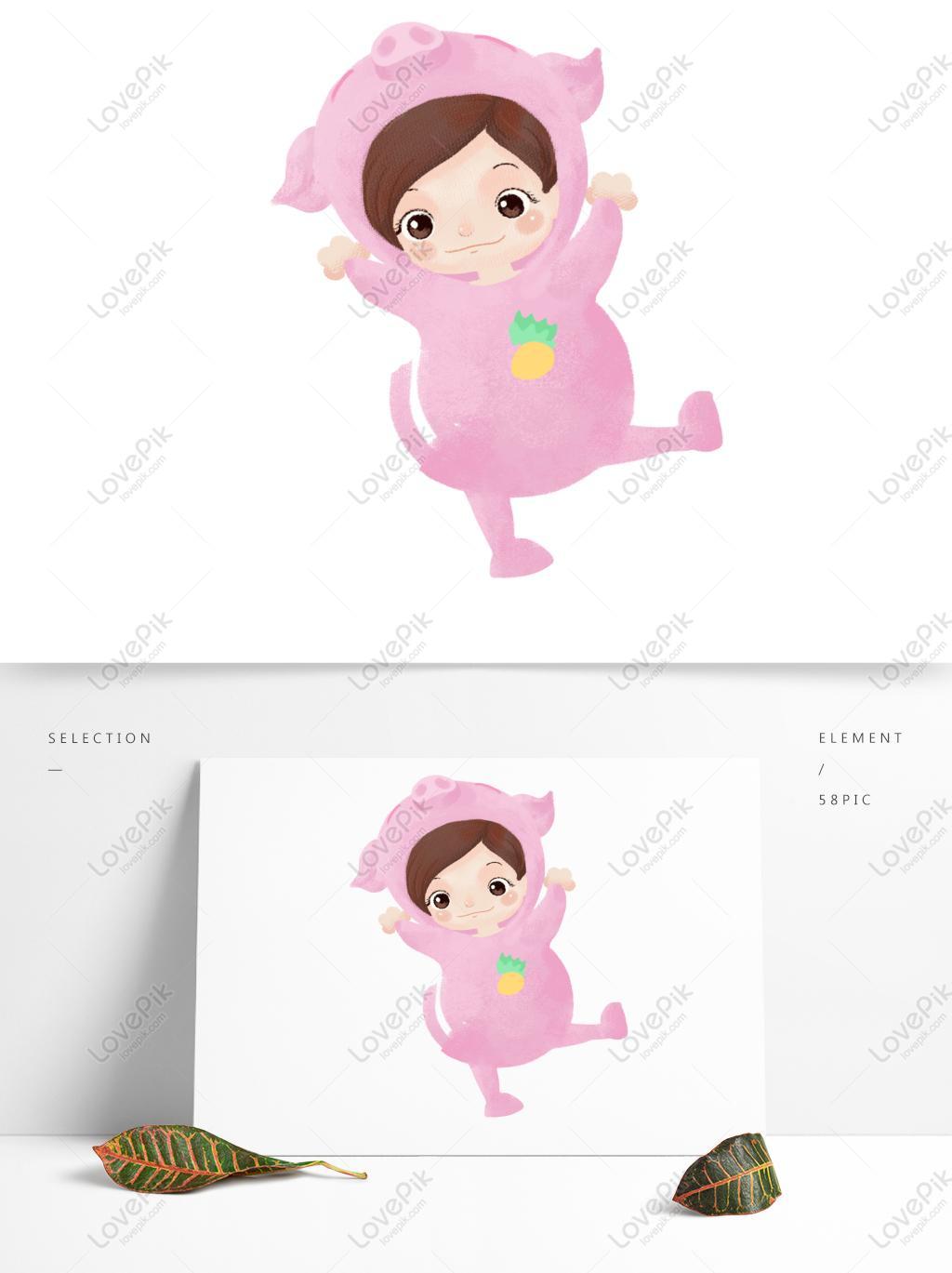 pig merah jambu el kartun el babi elemen vektor gambar