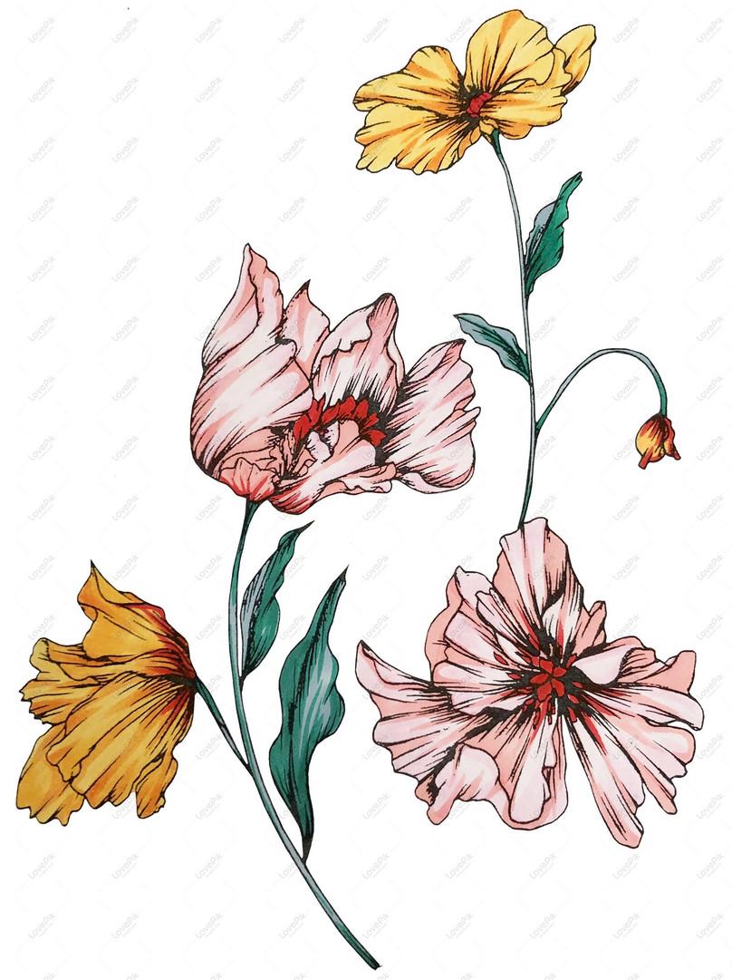 Asal Ilustrasi Lukisan Cat Air Lukisan Bunga Tangan Gambar Unduh Gratis Imej 733470803 Format Psd My Lovepik Com