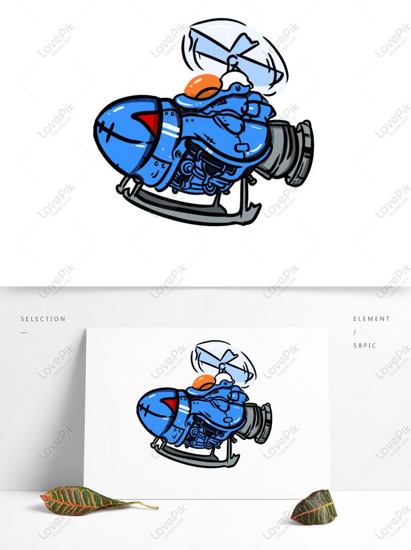 Bahan Dekorasi Helikopter Kartun Digambar Tangan Gambar