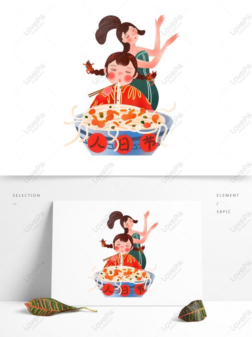 unsur unsur pola gourmet karakter kartun digambar tangan