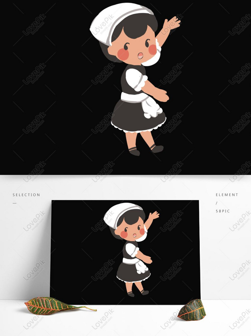 Desain Karakter Pembantu Kartun Lucu Untuk Penggunaan