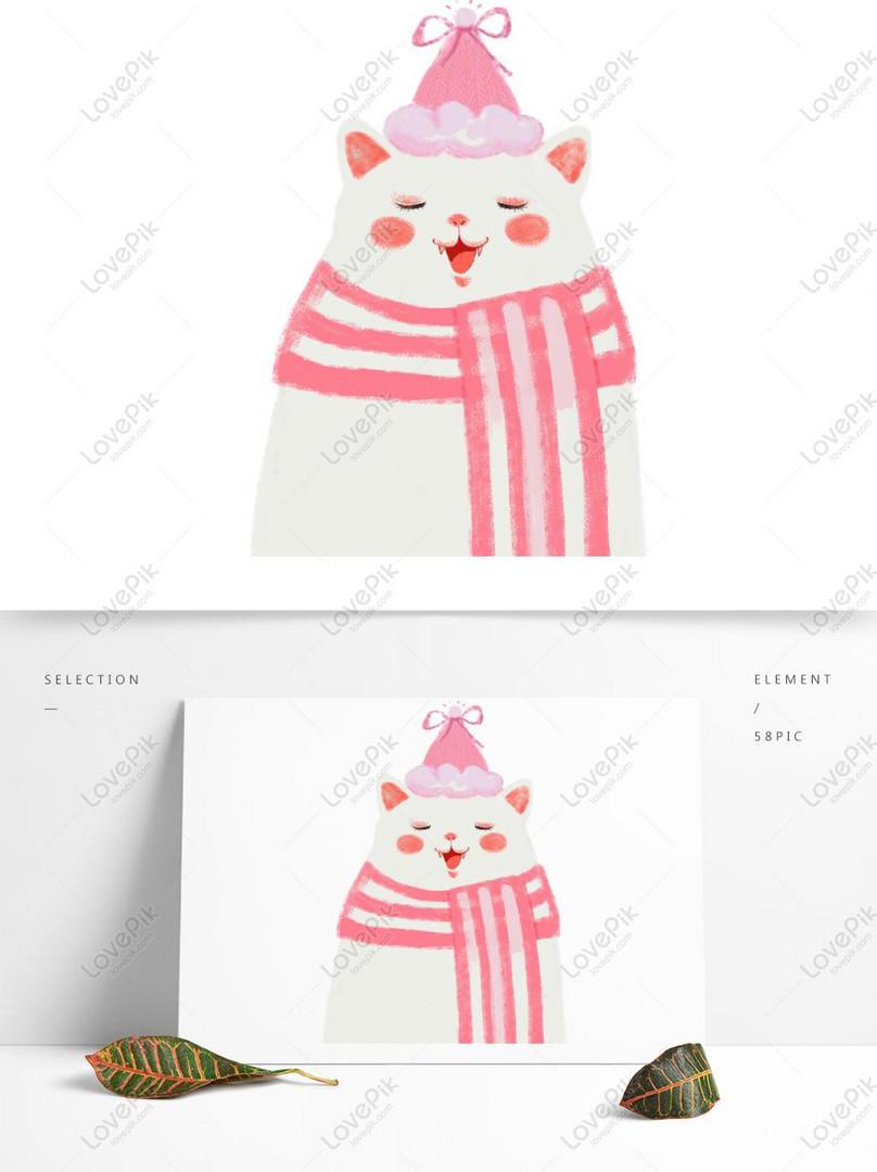 Beautiful Pink Cat Cartoon Cute Pet Design Psd Images Free Download 1369 1024px Lovepik Id733504222