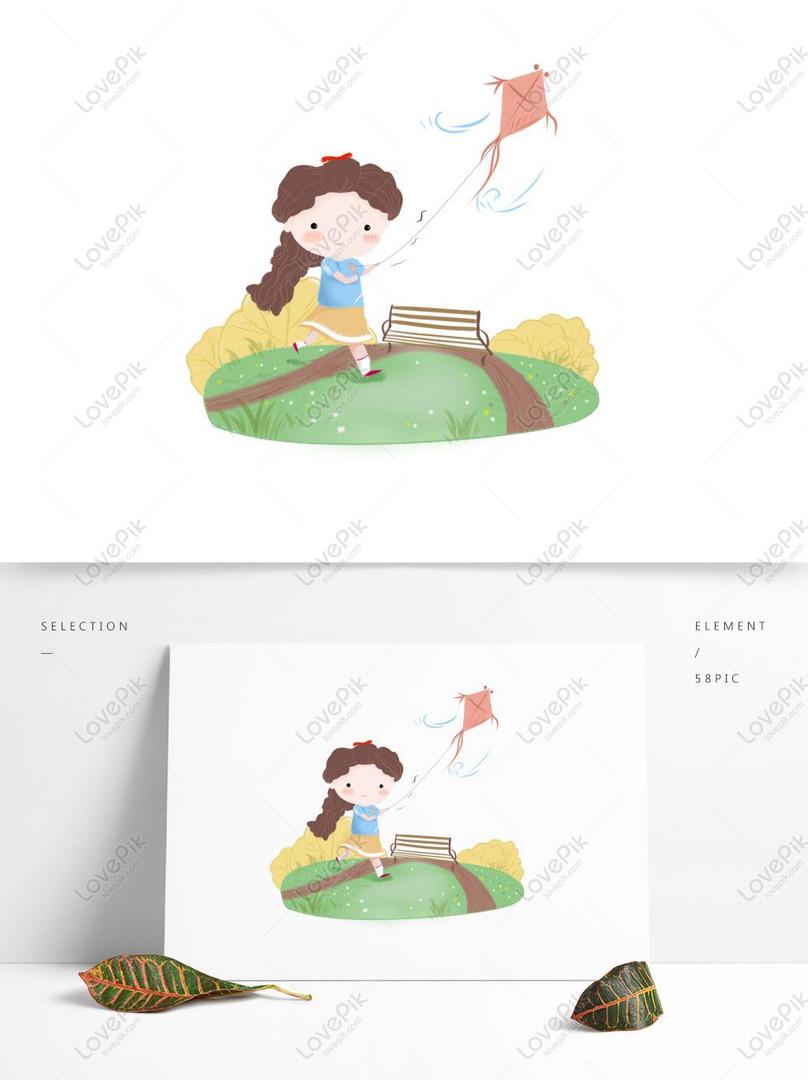 gadis kartun lucu di taman menerbangkan layang layang gambar