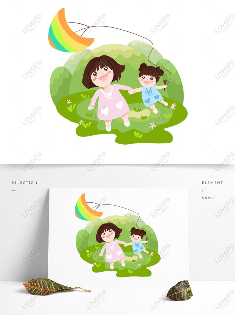 hand drawn cartoon spring grass flying kite girl