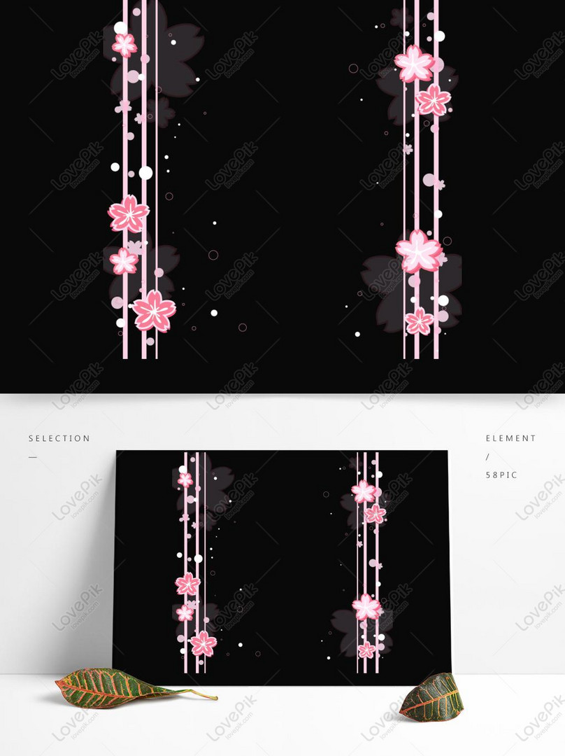 cute cherry blossom sticker border vector