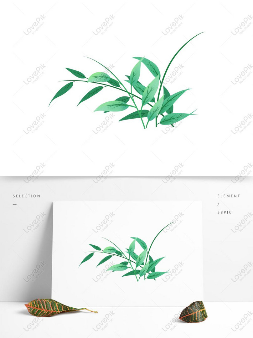 watercolor leaf transparent decorative material
