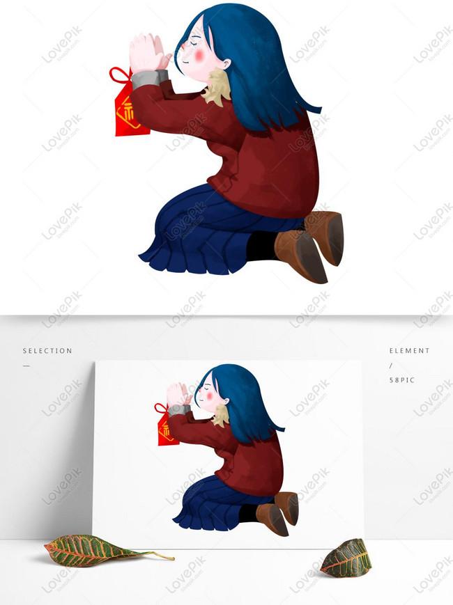 Tangan Ditarik Kartun Berdoa Elemen Png Gadis Gambar Unduh Gratis Grafik 733554413 Format Gambar Psd Lovepik Com