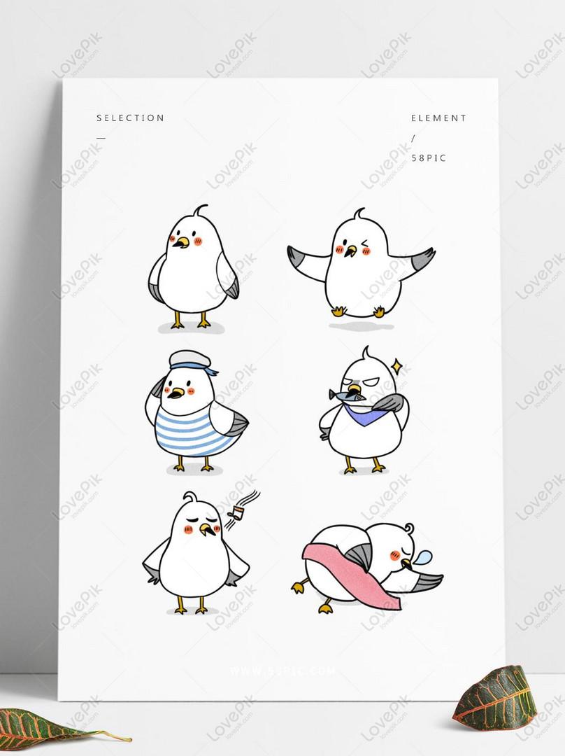 Tangan Ditarik Lucu Burung Putih Burung Camar Emoticon Paket